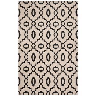 Safavieh Handmade Flatweave Dhurries Lori Modern Wool Rug (5 x 8 - Ivory/Black)