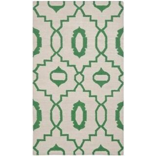 Safavieh Handmade Flatweave Dhurries Lori Modern Wool Rug (3 x 5 - Ivory/Green)