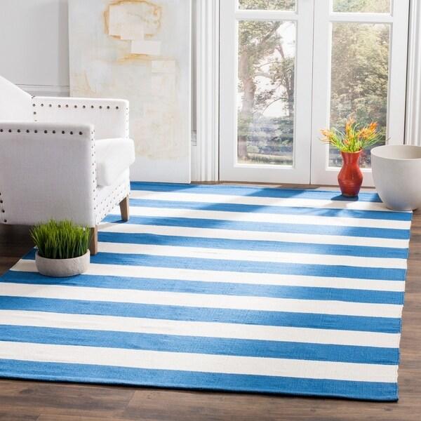 Safavieh Hand-woven Montauk Blue/ White Cotton Rug - 9' x 12'