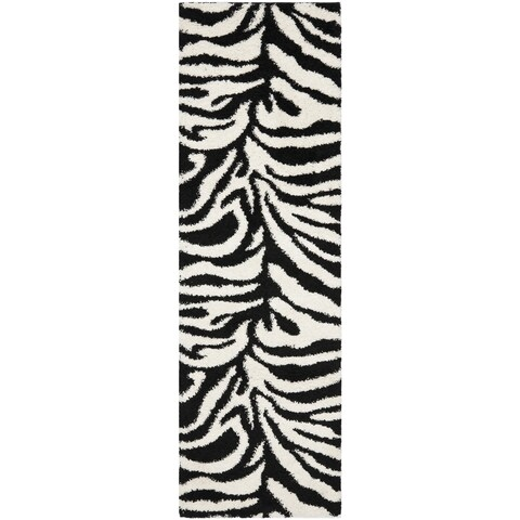 "Safavieh Zebra Shag Off-White/ Black Rug - 2'3"" x 11' Runner"