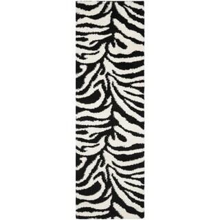 Safavieh Zebra Shag Off-White/ Black Rug (2'3 x 11')