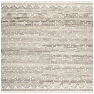 Safavieh Hand-Woven Natural Kilim Natural/ Ivory Wool Rug (5' Square)