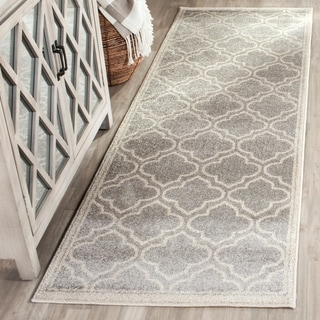 Safavieh Indoor/ Outdoor Amherst Light Grey/ Ivory Rug (2'3 x 9')