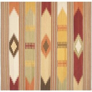 Safavieh Hand-Woven Kilim Red/ Multi Wool Rug (5' Square)