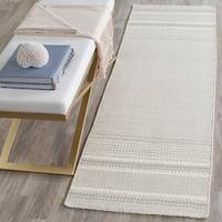 "Safavieh Hand-Woven Kilim Grey/ Ivory Wool Rug - 2'3"" x 9'"