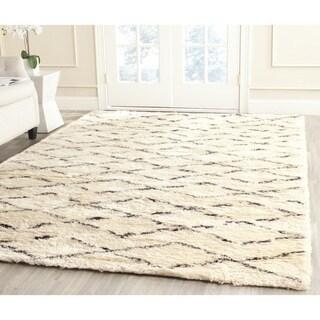 Safavieh Hand-Tufted Casablanca White/ Brown New Zealand Wool Rug (6' Square)