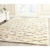 Safavieh Hand-Tufted Casablanca White/ Brown New Zealand Wool Rug - 6'