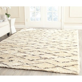 Safavieh Hand-Tufted Casablanca White/ Brown New Zealand Wool Rug - 6' Square
