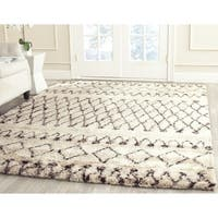 Safavieh Hand-tufted Casablanca White/ Dark Brown New Zealand Wool Rug - 6' x 6' Square