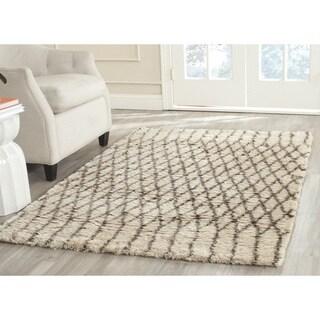 Safavieh Hand-Tufted Casablanca White/ Grey New Zealand Wool Rug (6' Square)