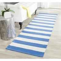 Safavieh Hand-woven Montauk Blue/ White Cotton Rug - 2'3 x 9'