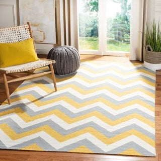Safavieh Hand-woven Reversible Dhurries Gold/ Grey Wool Rug (4' x 6')