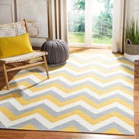 Safavieh Hand-woven Reversible Dhurries Gold/ Grey Wool Rug - 4' x 6'