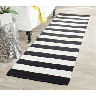 Safavieh Hand-woven Montauk Black/ White Cotton Rug (2'3 x 9')