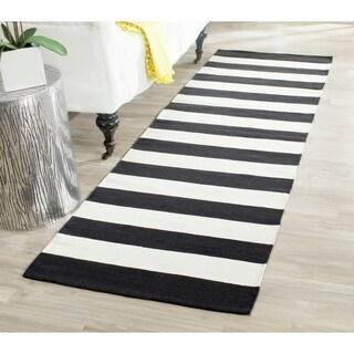 Safavieh Hand-woven Montauk Black/ White Cotton Rug - 2'3 x 9'