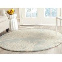 Safavieh Hand-Tufted Bella Grey/ Ivory Wool Rug - 7' Round