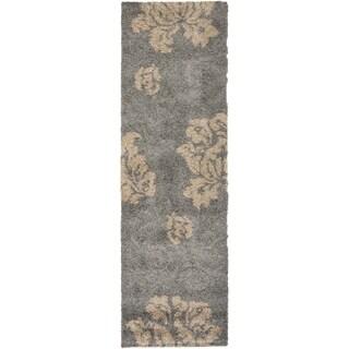 Safavieh Florida Shag Dark Grey/ Beige Floral Runner (2'3 x 9')