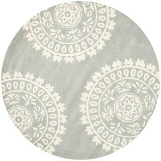 Safavieh Hand-Tufted Bella Grey/ Ivory Wool Rug (7' Round)