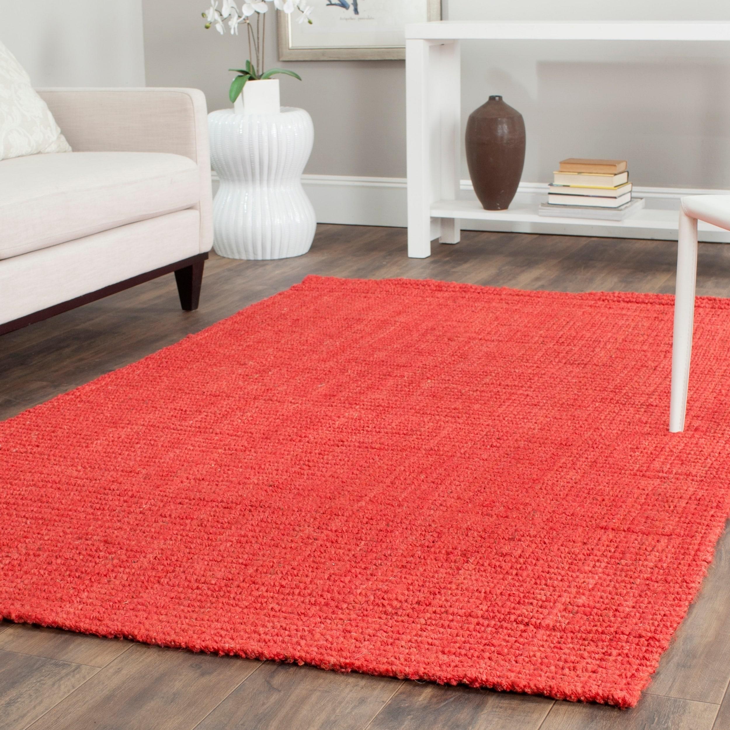 Safavieh Casual Natural Fiber Handmade Red Jute Rug (9' x...