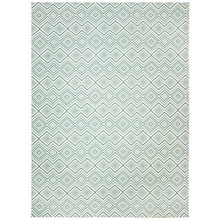 Safavieh Handmade Cedar Brook Ivory/ Light Teal Cotton Rug (6' x 9')