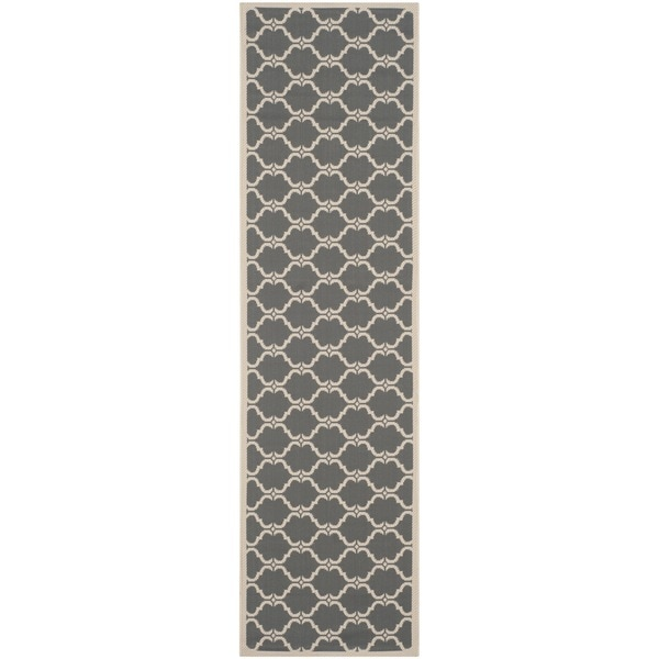 Safavieh Courtyard Moroccan Anthracite/ Beige Indoor/ Outdoor Rug (2'3 x 12')