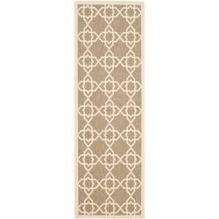 "Safavieh Courtyard Geometric Trellis Brown/ Beige Indoor/ Outdoor Rug - 2'3"" x 12'"