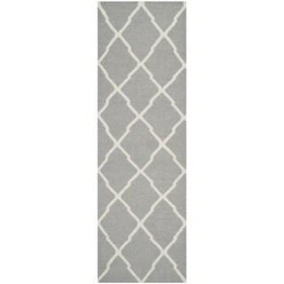 Safavieh Hand-woven Reversible Dhurries Grey/ Ivory Wool Rug (2'6 x 10')