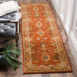 "Safavieh Handmade Heritage Timeless Traditional Rust/ Beige Wool Rug - 2'3"" x 10'"