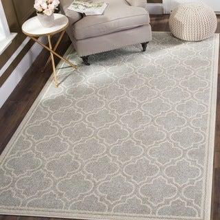 Safavieh Indoor/ Outdoor Amherst Light Grey/ Ivory Rug (10' x 14')