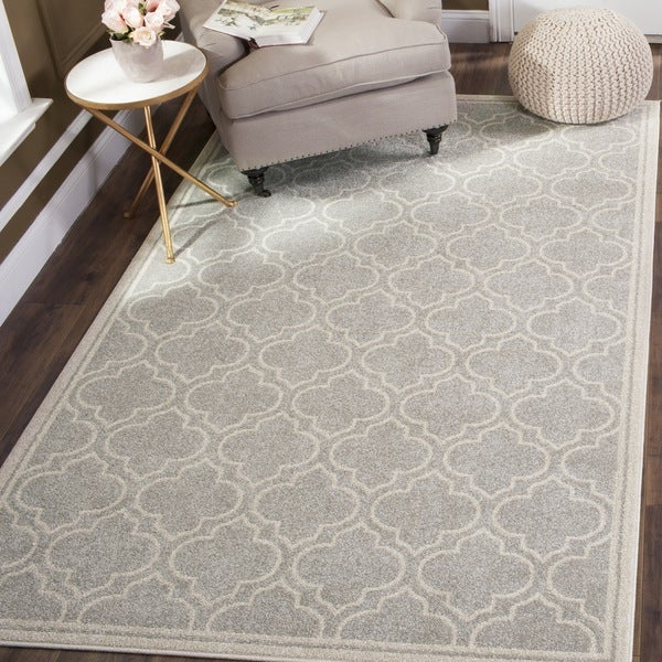 Safavieh Indoor Outdoor Amherst Light Grey Ivory Rug 10 X27 X