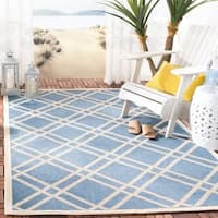 "Safavieh Indoor/ Outdoor Courtyard Blue/ Beige Rug - 6'7"" x 9'6"""