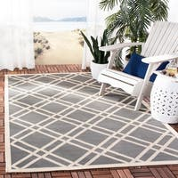 Safavieh Indoor/ Outdoor Courtyard Anthracite/ Beige Rug - 6'7 x 9'6