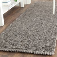 "Safavieh Handmade Natural Fiber Barbados Chunky Thick Light Grey Jute Rug - 2'6"" x 12'  Runner"