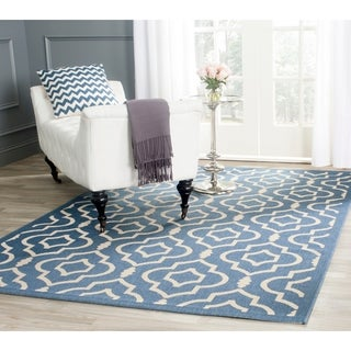 Safavieh Indoor/ Outdoor Courtyard Blue/ Beige Rug (6'7 x 9'6)