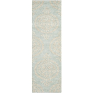 Safavieh Hand-Tufted Soho Blue/ Beige Wool/ Viscose Rug (2'6 x 12')
