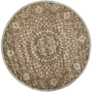 Safavieh Handmade Heritage Timeless Traditional Blue/ Grey Wool Rug (8' Round)