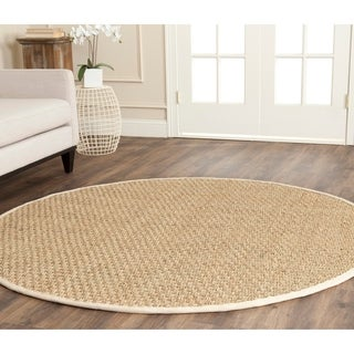 Safavieh Casual Natural Fiber Natural and Ivory Border Seagrass Rug (8' Round)