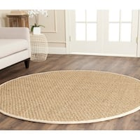 Safavieh Casual Natural Fiber Natural and Ivory Border Seagrass Rug - 8' Round