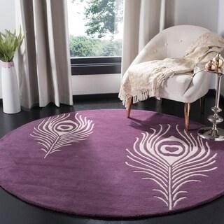 Safavieh Hand-Tufted Soho Purple/ Ivory Wool/ Viscose Rug (8' Round)