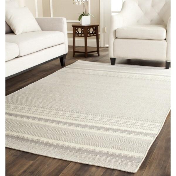 Safavieh Hand Woven Kilim Grey Ivory Wool Rug 6 X 9