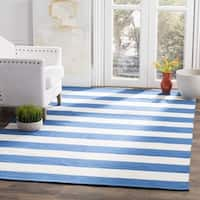 Safavieh Hand-woven Montauk Blue/ White Cotton Rug (6' x 9')
