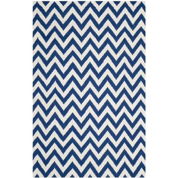 Safavieh Hand-woven Reversible Dhurries Dark Blue/ Ivory Wool Rug - 10' x 14'