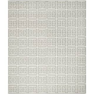 Safavieh Hand-woven Reversible Dhurries Grey/ Ivory Wool Rug (10' x 14')