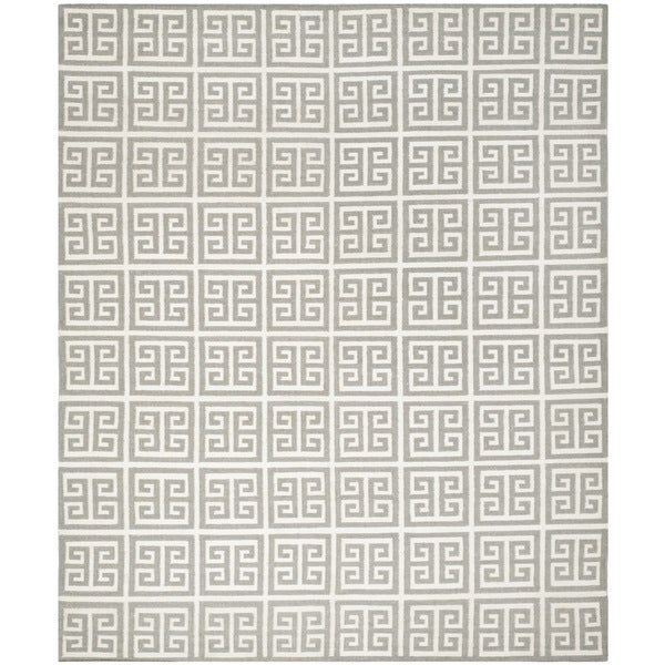 Safavieh Hand-woven Reversible Dhurries Grey/ Ivory Wool Rug (10' x 14')