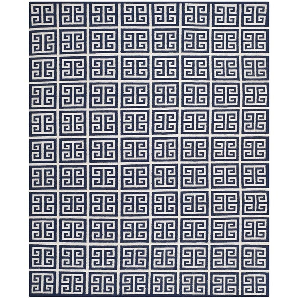Safavieh Hand-woven Reversible Dhurries Navy/ Ivory Wool Rug - 10' x 14'