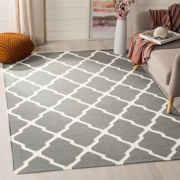 Safavieh Hand-woven Reversible Dhurries Grey/ Ivory Wool Rug - 10' x 14'