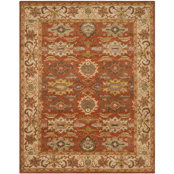 "Safavieh Handmade Heritage Timeless Traditional Rust/ Beige Wool Rug - 9'-6"" X 13'-6"""