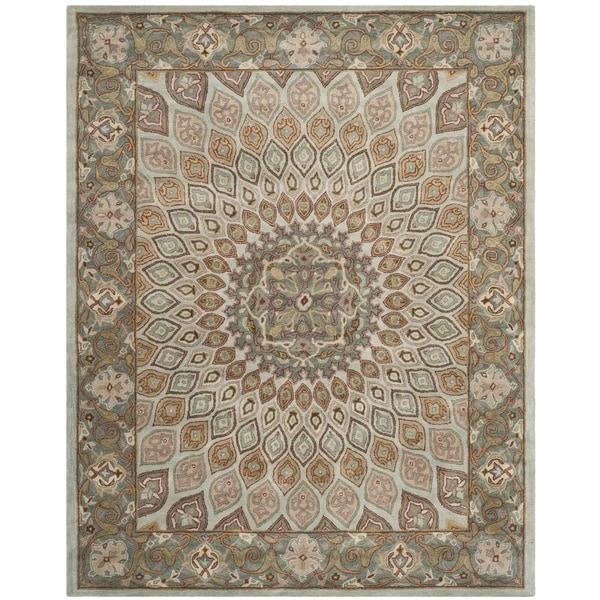 Safavieh Handmade Heritage Timeless Traditional Blue/ Grey Wool Rug - 9'6 x 13'6
