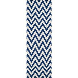 Safavieh Hand-woven Reversible Dhurries Dark Blue/ Ivory Wool Rug (2'6 x 14')