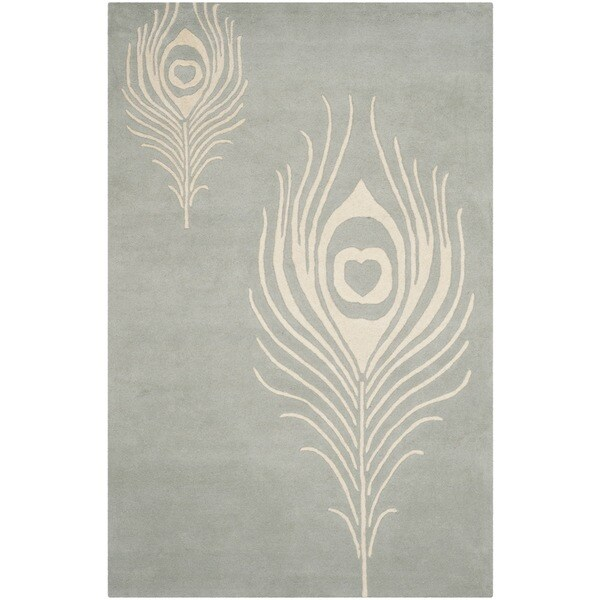 Safavieh Hand-Tufted Soho Grey/ Ivory Wool/ Viscose Rug (6' x 9')